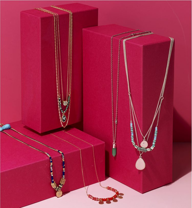 Kenneth Cole 3-row Necklace-$32, Green Drop Pendant-$20, 3-row Teal Necklace-$32, Blue and Two-toned Necklace-$24, Red Bead and Goldtone Necklace-$24