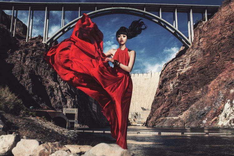 (OFFICIAL) Jessica Minh Anh at Hoover Dam USA in Saks Fifth Avenue dress