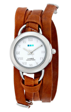 La Mer Collections Women's LMSATURN004 Stainless Steel Watch with Leather Wrap-Around Band