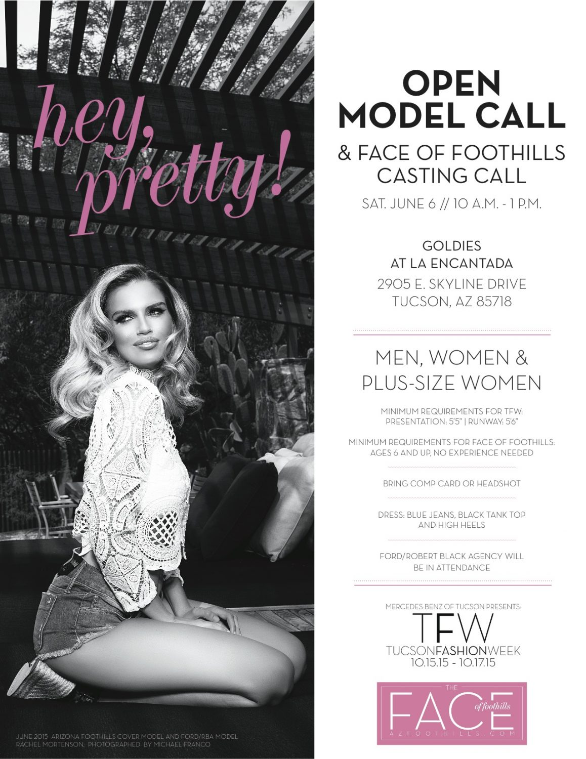 Model Casting Call June 6 Face Of Foothills And Tucson Fashion Week