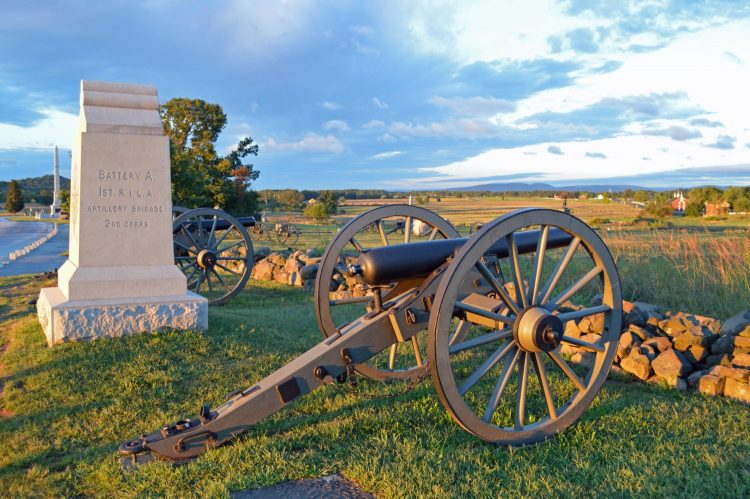 Cannon and Monument at Gettysburg National Military Park, PA