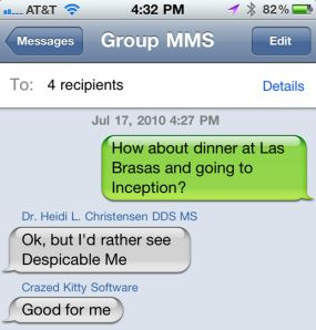 Group SMS Text Messaging on iPhone