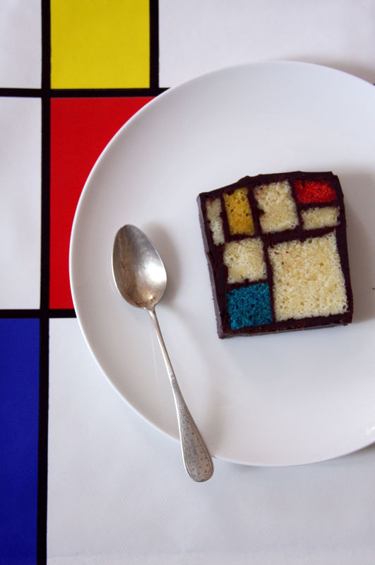 how to make a mondrian cake and other edible desserts of famous art. Black Bedroom Furniture Sets. Home Design Ideas