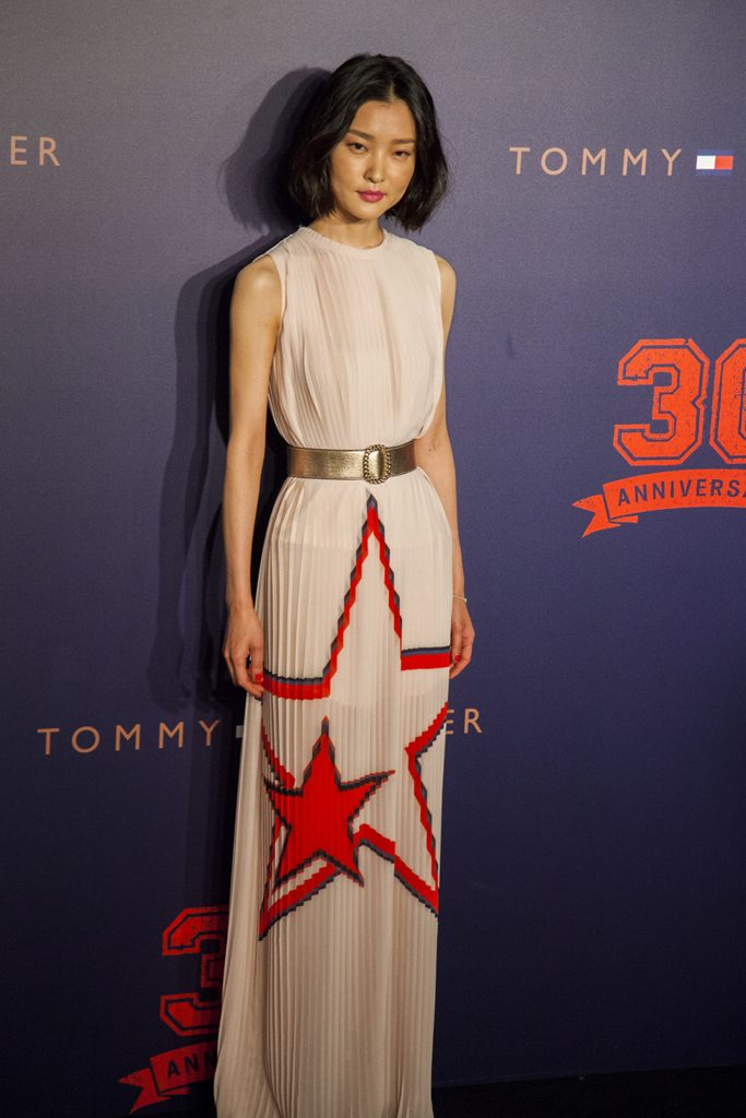 Du Juan on the red carpet for Tommy Hilfiger Fall 2015 Runway Show, Beijing, China, May 26, 2015.